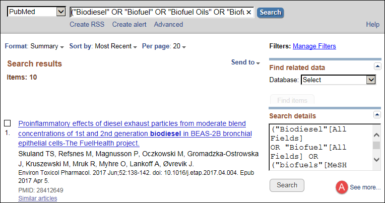 PubMed Search results page