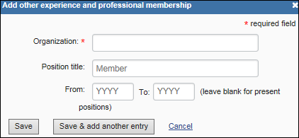 Add other experience and professional membership form