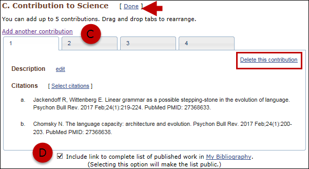 Add contribution tabs and select to include a link to My Bibliography collection