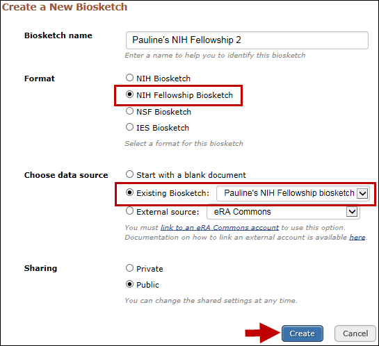 Create an NIH Fellowship biosketch copying information from an existing SciENcv document
