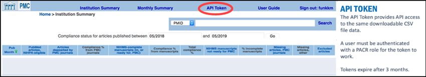 Access API Token from the top menu bar of PACM.