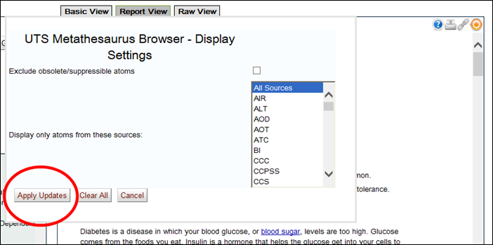 screen shot of Display Settings window - apply selected sources