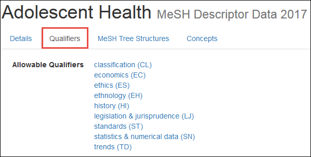 screenshot of the MeSH Qualifier view for Adolescent Health