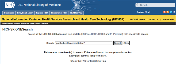 onesearch search for public health accreditation.
