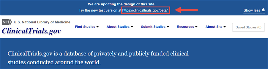 Give us feedback link on the ClinicalTrials.gov beta version site