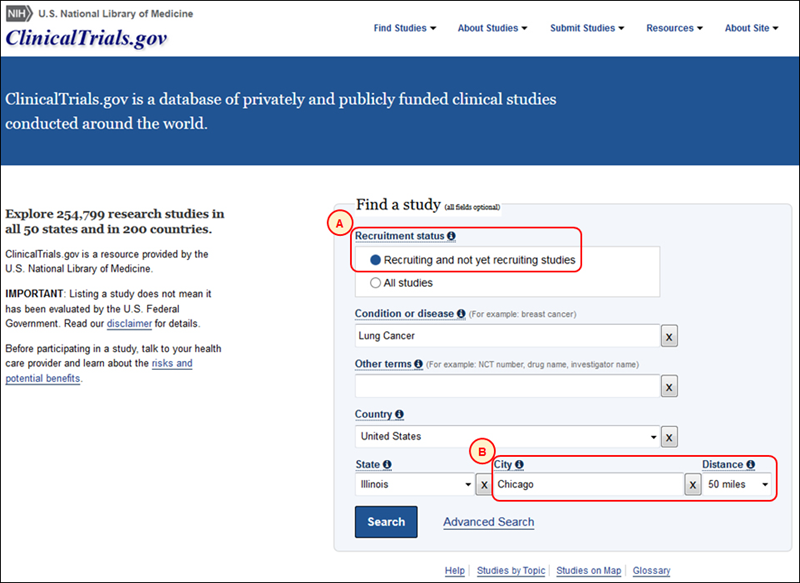 screenshot of the Updated ClinicalTrials.gov homepage