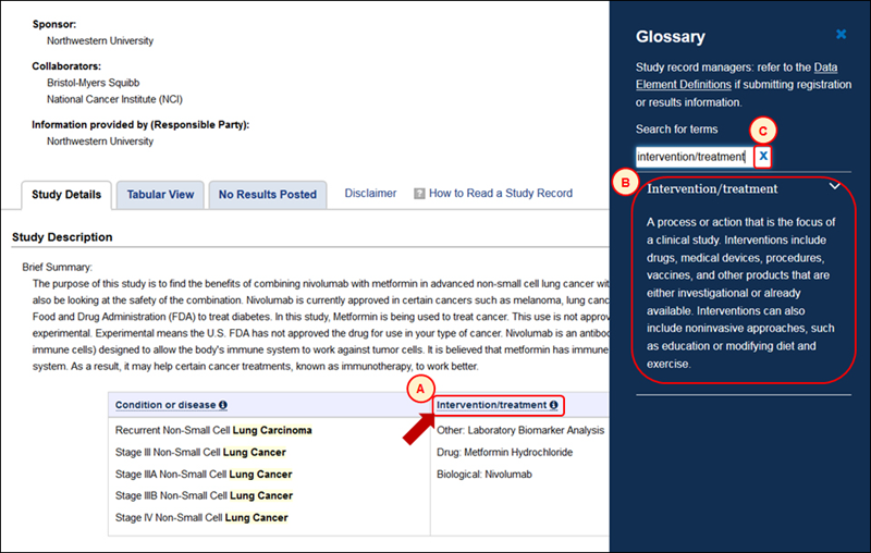 screenshot of the Glossary display while viewing a study record