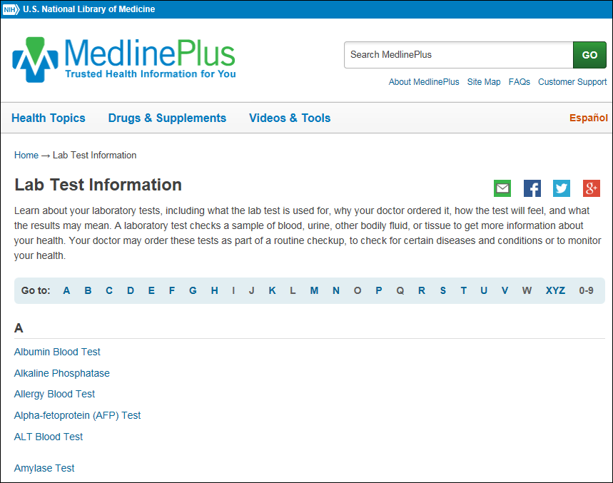 Lab Test Information Available In Medlineplus Nlm Technical