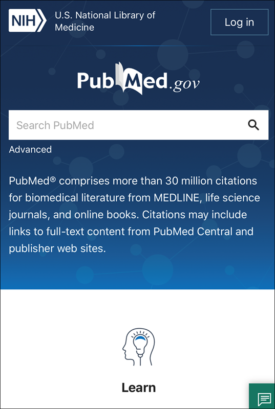 screenshot of PubMed homepage on mobile device.