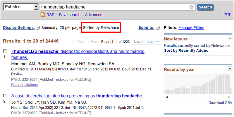 Screen capture of PubMed results sorted by Relevance.
