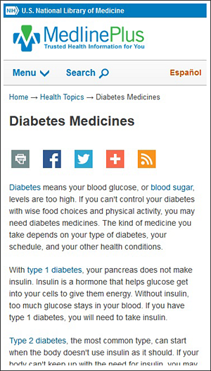 Screen capture of a health topic page on your mobile phone.