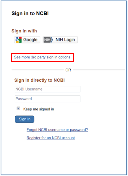 Screen capture of NCBI Sign in page