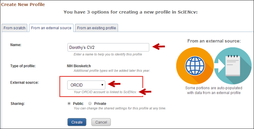 Screen capture of ORCID data options.