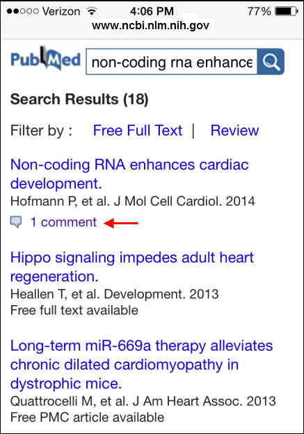 Screen capture of PubMed Mobile summary display with PubMed Commons comment indication.