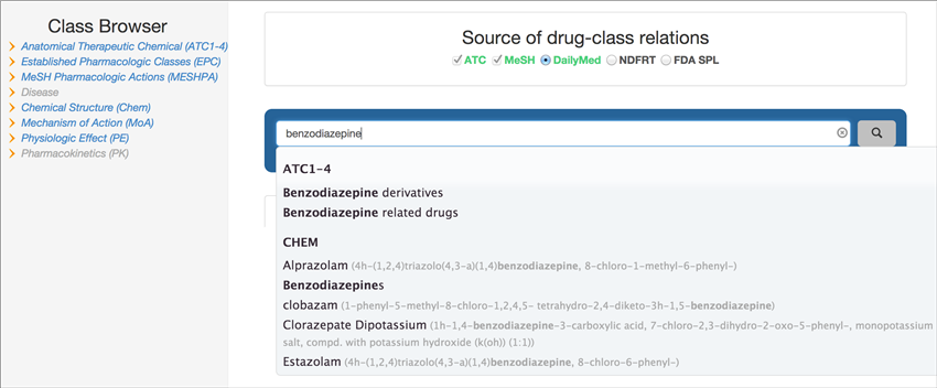 Search RxClass by drug class or RxNorm drug name.