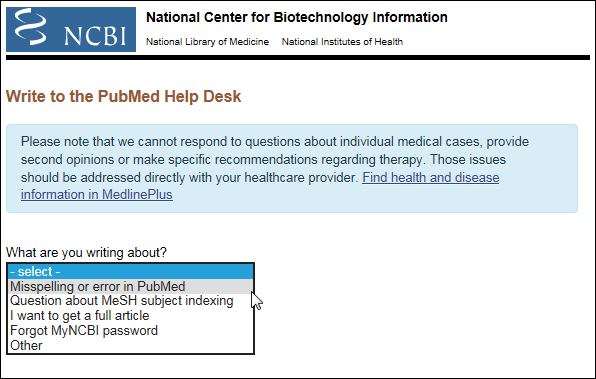 Write to the PubMed Help Desk form