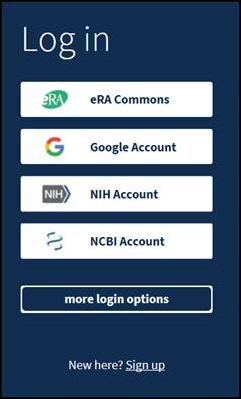 screen shot of the new NCBI login
