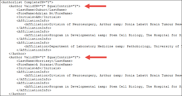equally contributing authors in pubmed xml display.
