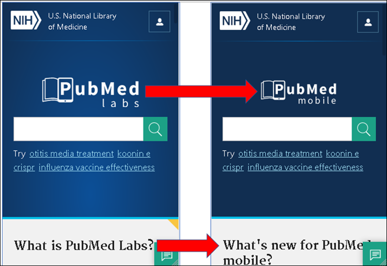Updated PubMed Labs homepage for mobile users.