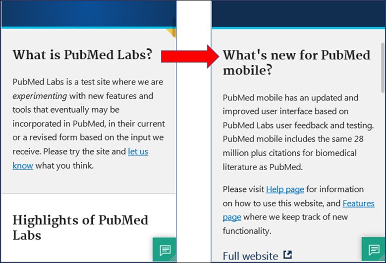 Updated homepage question for PubMed Labs mobile users.