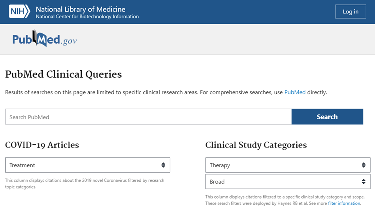 Search Clinical Queries in relation to COVID-19 categories and clinical study category and scope