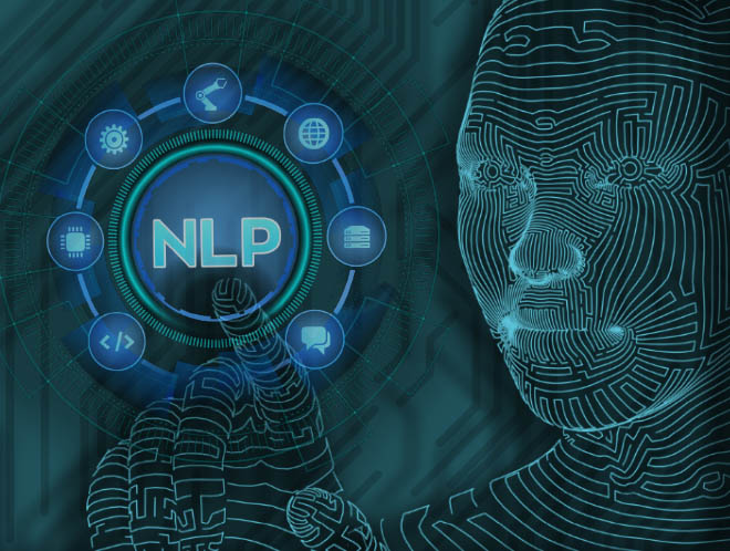 a figure touching the letters NLP