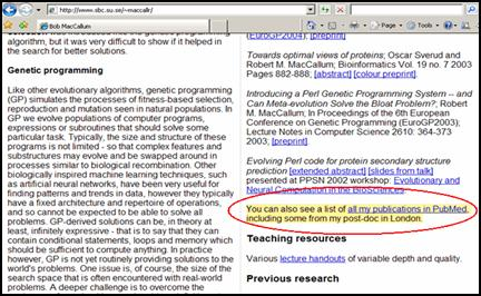 An example of a link from a personal home page to a search in PubMed