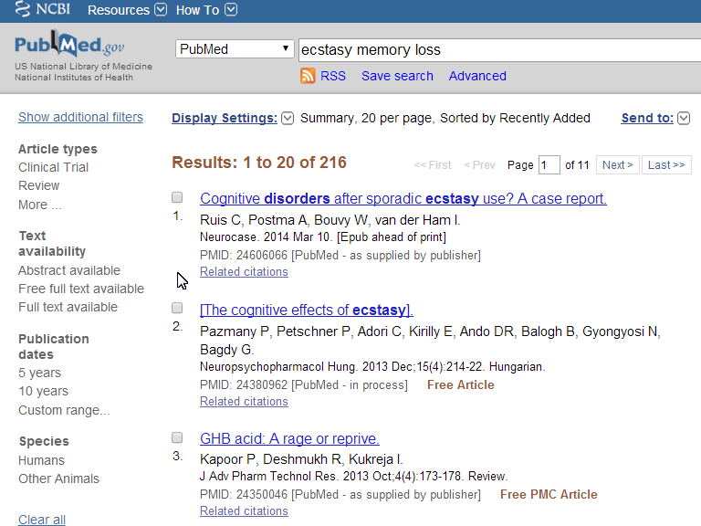 Screen shot of PubMed filter