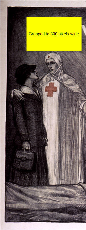 A dark illustration of a nurse with her arm around a woman dressed in street clothes. The nurse points down to a wounded man being tended by another nurse.